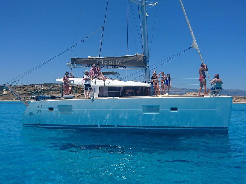 From Naxos: Full-Day Catamaran Sailing Cruise