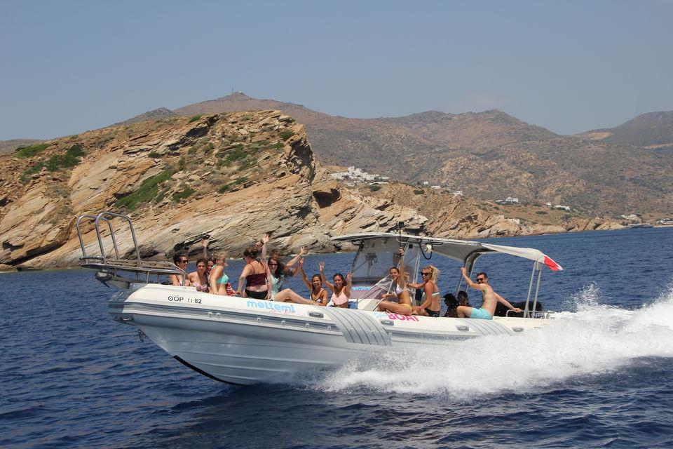 Ios Island: Speedboat Cruise from Mylopotas Beach